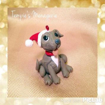 Brindle Pit bull pitbull staffordshire terrier Pet Santa Christmas decoration ornament made from Polymer clay Handmade dog figurine