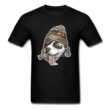 Chillin' Pit Bull Wearing Winter Beanie T-shirt Men Man's Homme Custom Short Sleeve XXXL Couple  Tshirt