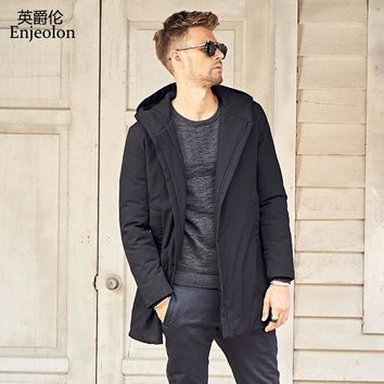 Cotton Padded Long Jacket Men Windproof hoodies Parka black solid Thick Quilted Coat Men