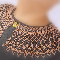 "Beauty gift-tatting lace collar ""Fragrant Apricot""-stunning wife gift-elegant collar-Clothing gift-anniversary gift-birthday-collar necklace"
