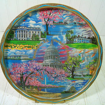 Vintage Washington, DC Tourist Souvenir Metal Tray Painted By Artist Ken Haag - Retro Round Tin Plate with 8 Iconic Nation's Capital Scenes