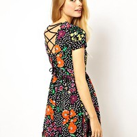 ASOS Skater Dress In Spot And Floral Print With Tie Back