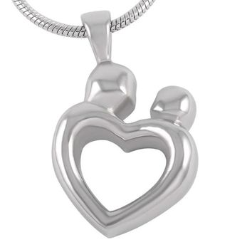 8260 Mother&Child Love Heart Cremation Jewelry Pendants Silver Tone Stainless Steel Human Memorial Urn Necklace For Ashes