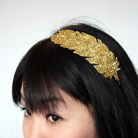 Golden Feather Headband, Goddess Headband, Gold Glitter