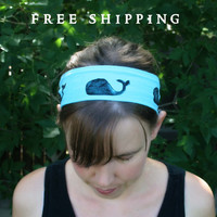Whale Headband Wide Hair Accessory Womens Hair Band- Wide Stretch Headband -- Animal Hair Band, Head Scarf