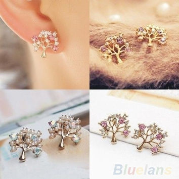 Fashion Lovely Cute Rhinestone Small Tree Stud Earrings Purple White , cute studs, korean style = 1651420228