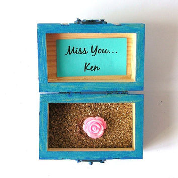 Wood Box, Miss You, Custom Gift, Handpainted Trunk, Treasure Chest, Wedding Favor, Personalized