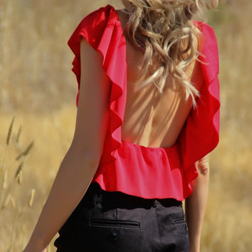 Red Sleeveless Backless Ruffle Top