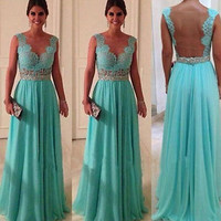 Sleeveless Blue Lacy Prom Dress