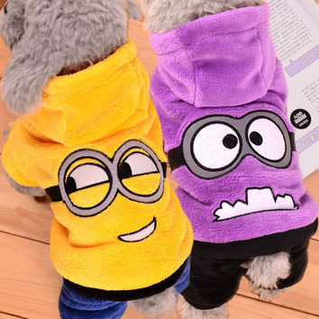 Warm Winter Pet Dog Clothes Fleece Minions Costume Sweater Cute Pets Hoodie Puppy Coat Dog Clothing for Small Dogs 39S1