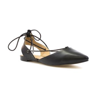 Lilley Womens Black Ankle Tie Lace Up Flat Shoe-15015   Shoe Zone