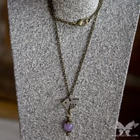 Little Brass Bird w/Lavender Jade Necklace