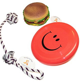 Everlast Pet Toys | Best Chew & Squeak Bundle for Dogs | Cheeseburger | Knotted Ball Tug Rope | 'Smiley Face' Flying Disc | Guaranteed | Top Rated - #1 Seller | For Breeds of All Ages & Sizes