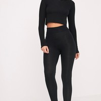 Dabria Black High Waisted Jersey Leggings