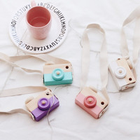 Baby Kids Cute Wood Camera Toys Children Fashion Clothing Accessory Safe And Natural Toys Birthday Christmas Gift