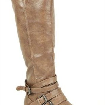 Tall Flat Riding Boot with Ankle Straps