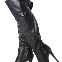 Black Faux Leather Thigh High Platform High Heel Boots