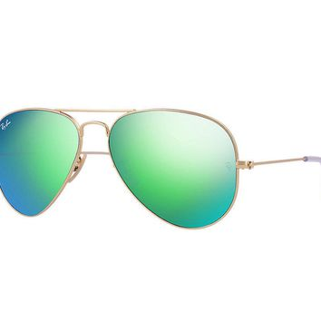 Ray Ban Aviator Sunglasses Matte Gold Frame/Crystal Green Mirror Lens