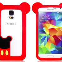 Lovely Cartoon Design Silicone Bumper Silicone Case for Samsung S5 i9600 (Red)