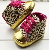 Baby Girl Pink and Gold Leopard Print Baby Shoes