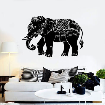 Vinyl Wall Decal Indian Elephant Ornament Animal Stickers Mural (ig3862)