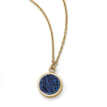 14k Yellow Gold 11mm Blue Druzy Disc Necklace, 17 Inch