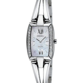 Seiko Solar Ladies Tressia Bangle-Style Watch - Swarovski Crystals - MOP Dial