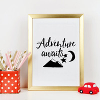 PRINTABLE NURSERY ART,Adventure Awaits,Gift For Kids,Play Room Decor,Mountain Print,Star Print,Child Print,Moon Printable,Digital Print