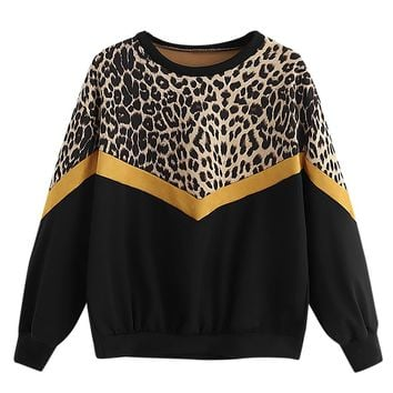 Women's Casual Long Sleeve Leopard Printed Thin Tops