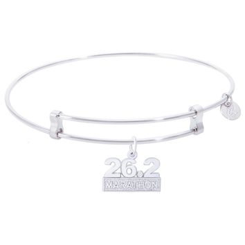 Sterling Silver Confident Bangle Bracelet With Marathon 26.2 W/Diamond Charm
