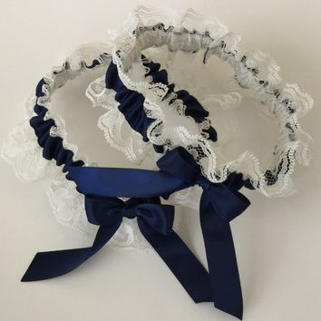 Ivory Lace Wedding Garter Set, 44 Different Colors,  Ivory Lace Bridal Garter Set, Prom Garter, Weddings, Custom Wedding