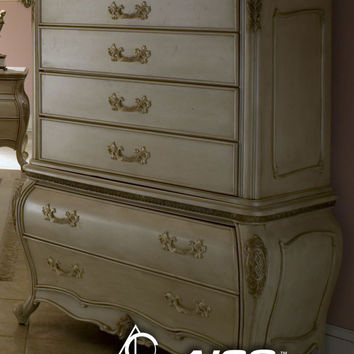 Lavelle 6 Drawer Chest Mirror - Blanc Finish by Aico