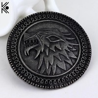 Exquisite Christmas gift game of thrones brooches Pin winter is coming Targaryen wolf punk large brooches badge Dress Accessory