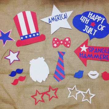 July 4th Photo Booth Prop Bundle, Memorial Day Picture Props, Uncle Sam; Red, White, and Blue (Handmade)