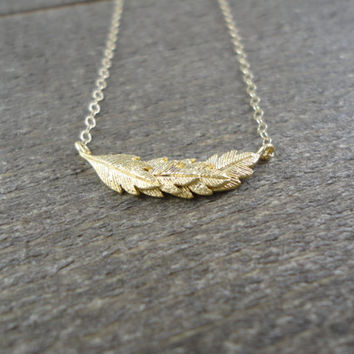 14k gold filled chain with anti-tarnish matte gold plating over brass feather charm necklace / bridesmaid / dainty / minimalist / layering