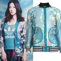 ADIDAS Women Fashion Flower Sun Protective Cardigan Jacket Coat