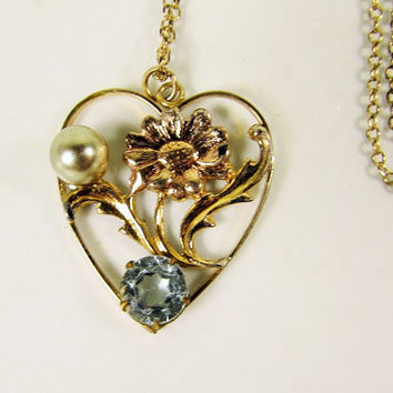 Gold Filled Aqua Pearl Necklace - I Michelson Rose Yellow GF Gray Pearl Blue Topaz Heart Flower Pendant