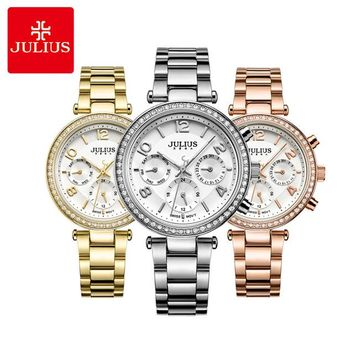 Real Multi-functions Women's Watch ISA Quartz Fashion Crystal Fine Hours Sport Stainless Steel Girl Birthday Gift Julius Box