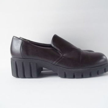 90s coffee chunky platform heels creeper vegan shoes sz 8 39