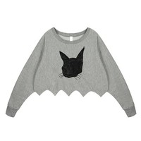 Embroidery Cat Crop Cut Sweatshirt for Girls