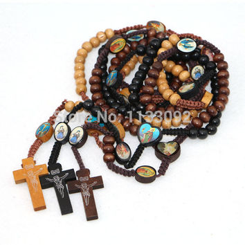 free ePacket ship 12pcs/lot 3colors Wooden Bible Image & Wooden Beads Rosary Necklace Woodcut Jesus Cross
