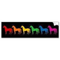 Row of Rainbow Color Horses Bumper Stickers from Zazzle.com