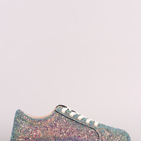 Bamboo Encrusted Sparkling Glitter Low Top Lace Up Sneaker | UrbanOG