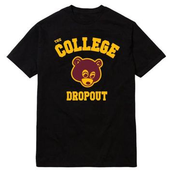 College Dropout t-shirt men Kanye West music printed gift short sleeve casual t shirt US plus size S-3XL