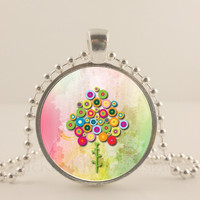 "Victorian flower tree, 1"" round glass and metal Pendant necklace Jewelry."