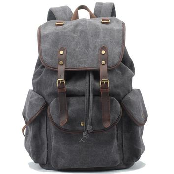 Canvas Vintage Backpack Leather Casual Bookbag Men Rucksack
