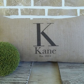 Personalized Monogrammed Pillow with Name & Est. Date - Insert Included