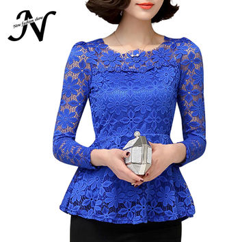 Ladies Lace Blouses Plus Size M- 4XL 2016 Fashion Women Clothing Elegant Ladies Long Sleeve Ruffle Blouse Female 5 Color
