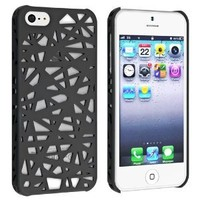 Leegoal Snap-on Case Compatible with Apple® iPhone® 5, Black Bird Nest Rear