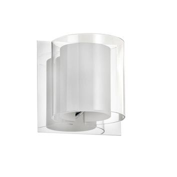 Dainolite 1 Light Bathroom Wall Sconce with Clear Frosted White Glass and Polished Chrome Finish